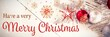 canvas print picture - Merry Christmas message on wood background