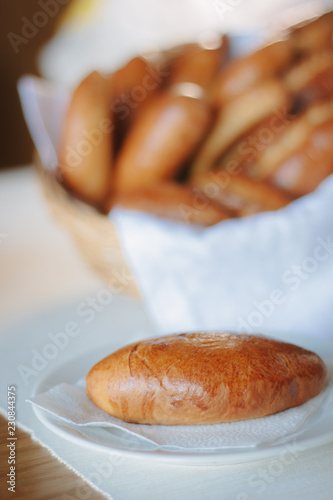 Fotografie, Obraz  Beautiful and delicious pastry on white ceramic plate.