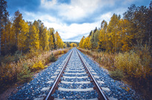 Autumn Railway View From Sotka...