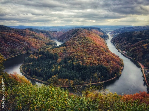 Riviere Unique landscape and landmark of the Saarland with a view to Saar river bend in Germany