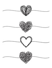 Set Of Four Tangled Grungy Hea...