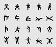 Silhouette icons set for Exercise and Health