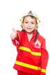 Junge als Feuerwehrmann mit Daumen hoch