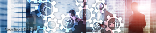 Automation technology and smart industry concept on blurred abstract background. Gears and icons. Website header banner.