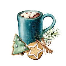Watercolor Christmas Card With Cacao And Pastry. Hand Painted Cup Of Cacao, Marshmallow, Cookies And Cinnamon Sticks Isolated On White Background. Holiday Symbols. Seasonal Trendy Illustration.