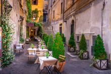Cozy Street In Downtown, Rome,...