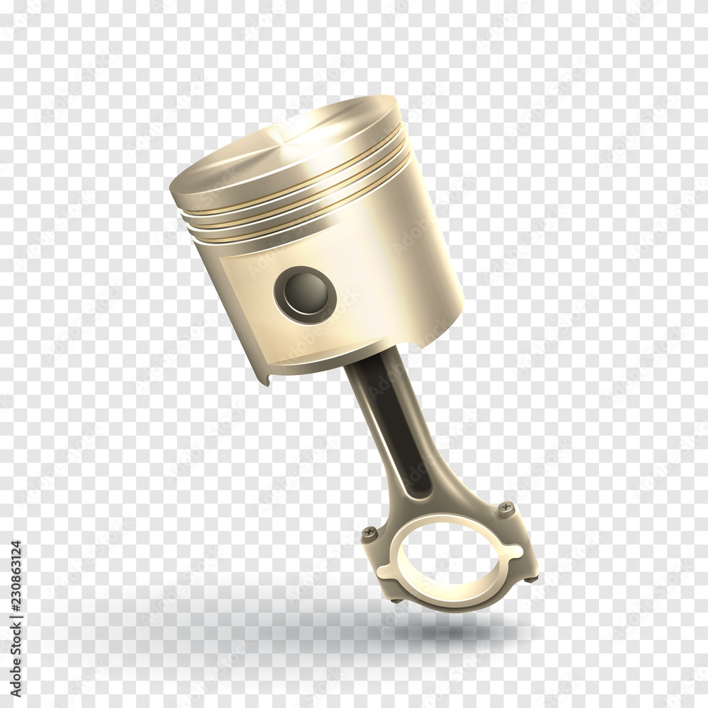 Fotomural Engine Piston Isolated On Transparent Background Vector