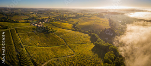 Photo Aerial view Bordeaux Vineyard at sunrise, Entre deux mers, Langoiran, Gironde