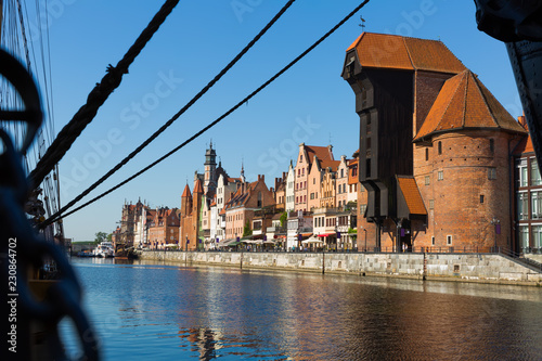 Poster Europese Plekken Motlawa river embankment in historical part of Gdansk at sunny day
