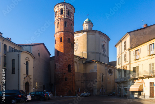 Old architectural sights in italian city Asti Canvas Print