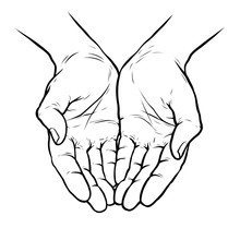 Hands Cupped Together. Sketch Vector Illustration Isolated On White Background