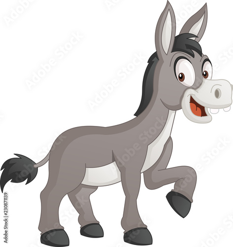 Cartoon cute donkey. Vector illustration of funny happy animal. Poster Mural XXL