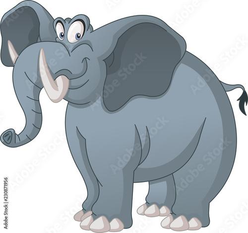 Deurstickers Stierenvechten Cartoon cute elephant. Vector illustration of funny happy animal.