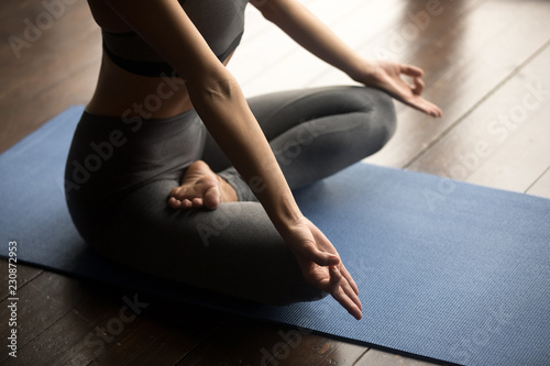 Recess Fitting Yoga school Sporty woman practicing yoga, doing Ardha Padmasana exercise, Half Lotus pose with mudra gesture, working out, wearing sportswear grey pants and top, body close up, yoga studio. Mindful life concept