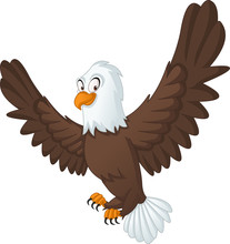 Cartoon Cute Bald Eagle. Vector Illustration Of Funny Happy Animal.