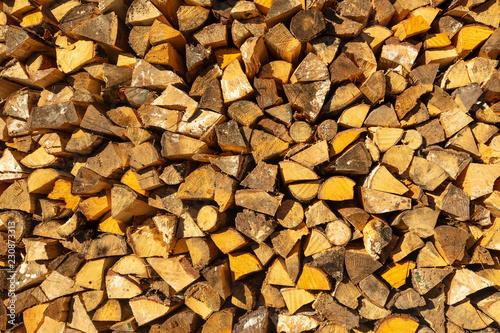 Fotobehang Brandhout textuur Texture - wood pile of pine wood