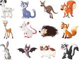 Fototapeta Fototapety na ścianę do pokoju dziecięcego - PrintGroup of cartoon animals. Vector illustration of funny happy animals.