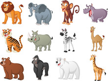 Group Of Big Cartoon Animals. Vector Illustration Of Funny Happy Animals.