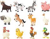 Fototapeta Fototapety na ścianę do pokoju dziecięcego - Group of farm cartoon animals. Vector illustration of funny happy animals.