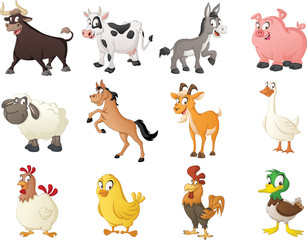 Group of farm cartoon animals. Vector illustration of funny happy animals.