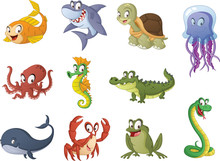 Group Of Cartoon Fish, Reptile...