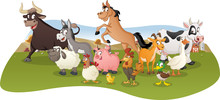 Group Of Farm Cartoon Animals. Farm Background.