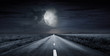 canvas print picture - asphalt road night