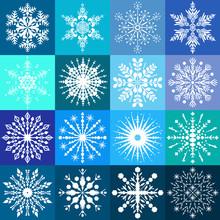Set Of Sixteen White Snowflake...