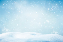 Abstract Winter Background With Snowflakes, Christmas Background With Heavy Snowfall, Snowflakes In The Sky