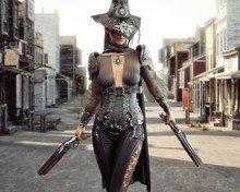 Female Cowgirl Gunslinger Walking Through The Center Of A Western Town With Duel Sawed Off Shotguns. 3d Rendering