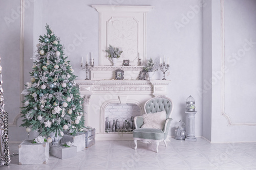 Christmas holiday background. Christmas tree with silver and