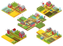 Vector 3d Isometric Rural Farm...
