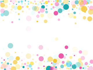 Memphis round confetti festive background in cyan blue, pink and yellow. Childish pattern vector.