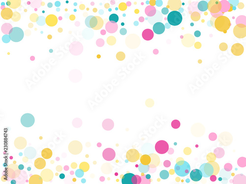 Obraz Memphis round confetti festive background in cyan blue, pink and yellow. Childish pattern vector. - fototapety do salonu