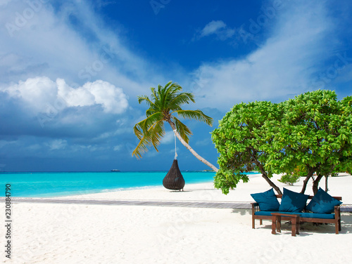 Maldives beach resort panoramic landscape. Summer vacation travel holiday background concept. Maldives paradise beach.