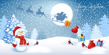 Snowman In Santa Cap With Gift Boxes Against Winter Forest Background And Santa Claus In Sleigh With Reindeer Team Flying In The Sky