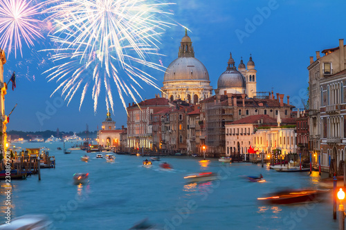 Basilica Santa Maria della Salute at night with fireworks, Venice, Italy