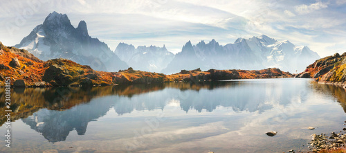 Poster de jardin Reflexion Crystal Lakes Chamonix in the Alps