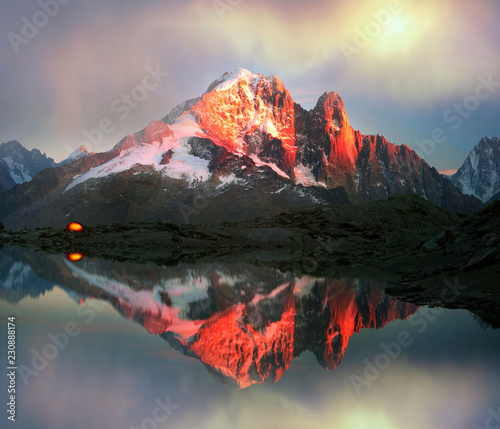 Poster Reflexion Crystal Lakes Chamonix in the Alps