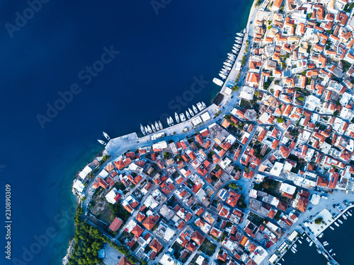 Aerial view of Ermioni sea marina in Aegean sea, Greece.