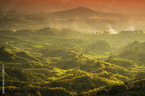 Foggy landscape in Buenavista, Quindio, Colombia, South America Canvas Print