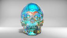 Bright Blue Solid Crystal Skull