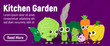 Kitchen garden concept banner. Isometric banner of kitchen garden vector concept for web, giftcard and postcard