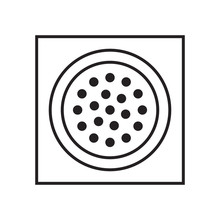 Drain Hole, Line Sink Drain Icon, Black Isolated On White Background, Vector Illustration.
