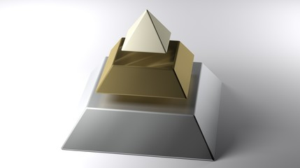 Sliced pyramid on white surface