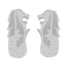 Merlion Statue, Singapore, Mythical Creature With The Head Of A Lion And The Body Of A Fish. Vector Illustration. EPS 10.