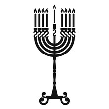 Hanukkah Candle Stand Icon. Simple Illustration Of Hanukkah Candle Stand Vector Icon For Web Design Isolated On White Background