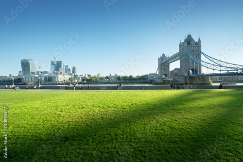 Poster Centraal Europa grass and tower bridge in sunny morning London, UK