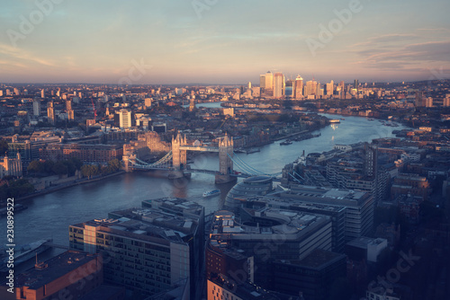 Poster Centraal Europa London aerial view with Tower Bridge, UK
