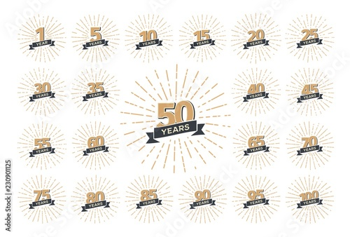 Photo Set of isolated anniversary logo numbers with ribbon and fireworks vector illustration